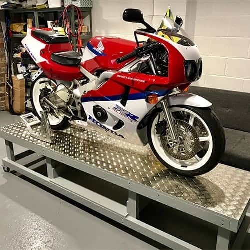 Chequer Plate Motorbike Stand | Chequer Plate Direct