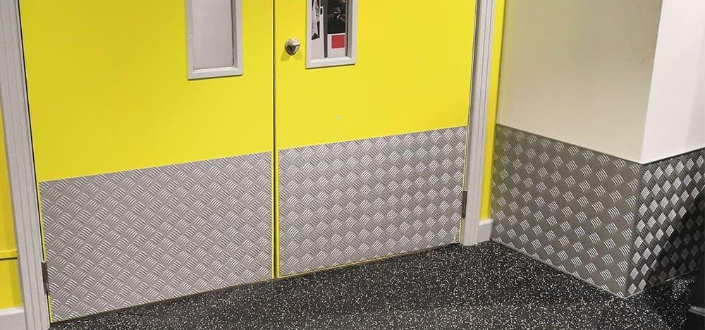 Chequer Plate Aluminium Door Kick Plates | Chequer Plate Direct
